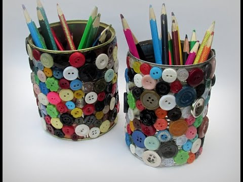 Карандашница для рукодельницы и школьников, декорированная пуговицами . Мастер-класс/DIY