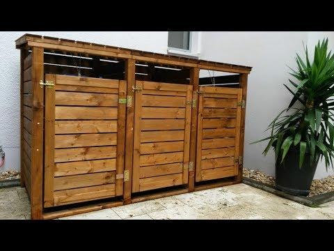 Мусорный контейнер из дерева для дома и дачи