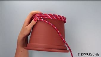Самодельная корзина из шнура