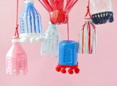 Праздничные фонарики из пластиковых бутылок